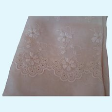 Beautiful Very Old Off-white Embroidered Organdy for Doll Dressing
