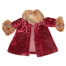 Pretty Little Burgundy Red Velveteen Doll Coat with Fur Collar and Cuffs