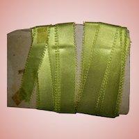 2 Yds of 5/8 in. Apple Green Silk Eyelash Ribbon