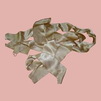 2 In. Wide Ecru Silk Satin Eyelash Ribbon - 2 Pieces