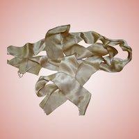2 In. Wide Ecru Silk Satin Eyelash Ribbon - 2 Pieces