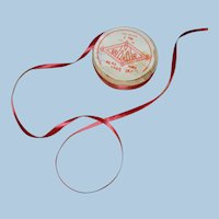 """Approximately 4-5 yds. of 1/4 in. """" Rayon - Silk """" Red Ribbon for Doll Dressing"""