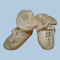 Original Factory German Cloth Front Laced Shoes and Mesh Socks for Larger Doll