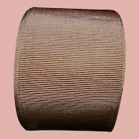 Bolt with 2 In. Wide Antique Silk or Rayon Mocha Grosgrain Ribbon for Doll Dressing