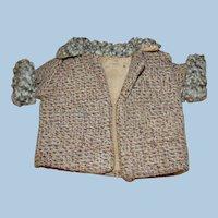 "Precious Antique Doll's Wool Tweed Coat with "" Yarn Poodle Fur """