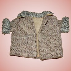 "Precious Antique Doll's Wool Tweed Coat with "" Yarn Poodle Fur """