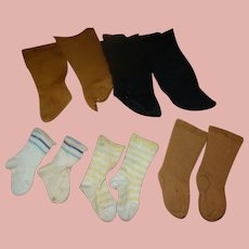 5 Prs of Old Cotton Socks for Antique Dolls