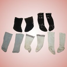 5 Prs of Antique Doll Socks, 2 for French Fashions