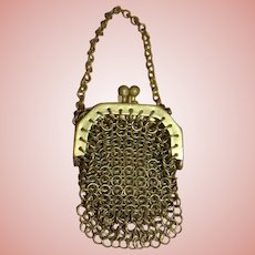 Antique Small Size Gold Mesh Chain Purse for French Fashion