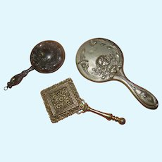 3 Small Metal Antique Hand Mirrors for French Fashion Settings