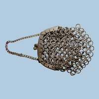 Small Antique Mesh Chain Purse with Metal Frame and Clasp