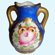 Tiny 2 Inch Old Vase with Hand Painting and Maker's Mark for Doll's Vanity