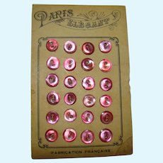 24 Mini Antique Pink Buttons from Paris for Doll Dress Making