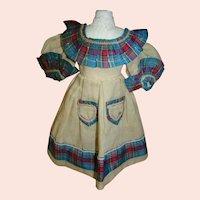 Stunning Antique Wool Challis Dress with Silk Plaid Ribbon Accent