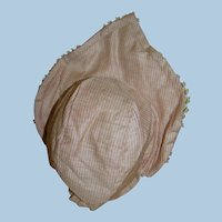 Cute Pink Checked Wire-Brimmed Doll Bonnet