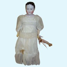 1840's 18 In. Child China Head Doll ( Kinderkopf ), Brown Eyes