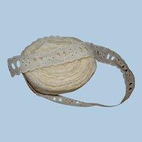 12-1/2+ Yds of Vintage Cotton Eyelet Trim for Doll Dressing, Scalloped Edges