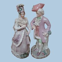 Lovely 14 In. Porcelain China Figures of Young Man and Lady, Finely Dressed
