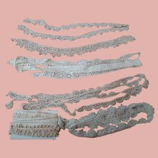 Various Designs and Pieces of Lace for Doll Dressing