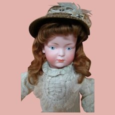 German Bisque Head Kley & Hahn Character Mold #526 with Painted Eyes, Closed Mouth - 18 Inches