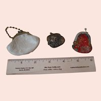 Lot of 3 Tiny Doll Size Lined Purses with Closures, Silk Brocade