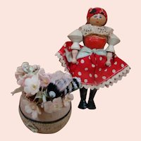 Original Miniature Wooden Polish Doll with Flower Pot & Bumble Bee