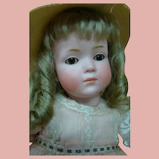 German Kley & Hahn Bisque Head Closed Mouth Character Child Mold #546, Glass Sleep Eyes - 16.5 In.