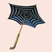 """13-1/4 In. Doll Parasol, Bamboo Handle, Navy Blue and White Stripe, Tagged """"Made in France"""""""