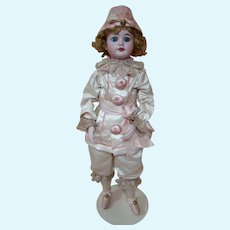 Factory Original French Bisque Head Bebe Dressed as a Clown, Beautiful Bisque Lower Arms