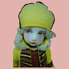 22 Inch Italian Lenci Felt Doll, Originally Dressed, Circa 1923