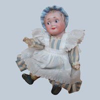 7 Inch Googly with Molded Bonnet, Original 5-Pc. Mache Chubby Toddler Body