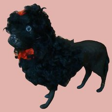 Black Paper Mache Fur Poodle with Glass Eyes Candy Container - 9-1/2 in. Long