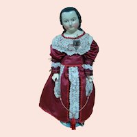 Large 32 In. Paper Mache Lady with Long Curls, Holtz-Masse Cloth Body, Mache Arms and Legs, Ca:  Mid 1800's