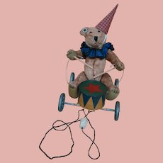 Doll's Pull Toy, Bear Seated Playing Drums