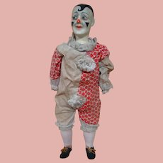 21.5 In. Paper Mache Friendly Antique Clown, Germany, Great Facial Painting and Costume