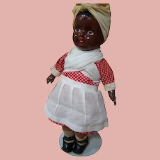 19 In. Composition Black Doll Toddler, Painted Features, Cloth Body, Original Ca:  1930's
