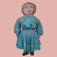 17 In. Art Fabric Printed Cloth Doll with Printed Underwear, Shoes, Added Antique Dress, ca:  1900