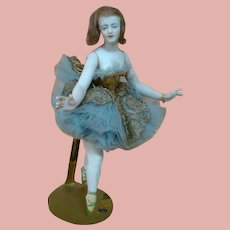 Lovely 8 Inch Antique German Bisque Nudie Dressed as Ballerina with Jointed Arms, Wigged