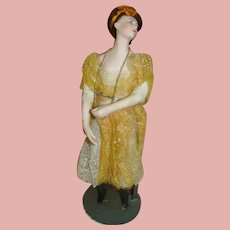 French Bisque Head Lady Doll, Pandora, Original Couturiere Costume, Designer Mlle. Valentine Thompson, Cir: 1915-18