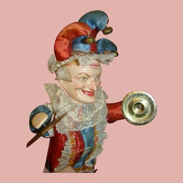 18 In. Toy Polichinelle Cymbal Player Squeaker, Original Silk Costume