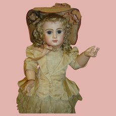 21 In. Tete Jumeau Bebe, Blue Paperweight Eyes, All Antique, ca:  1885