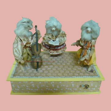 German Automaton Cat Musicians, Movement and Music, Great Original Costumes!