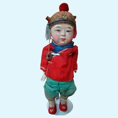16 In. Paper Mache Asian Child Doll, Original Silk Costume, Silk Slippers, Painted Features