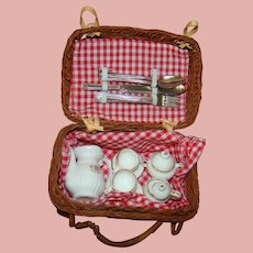 Doll Size Picnic Basket, Tea Set, Utensils and Red and White Checked Cloth