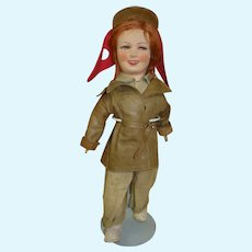 20 In. Cloth Celebrity Doll in Aviator Suit, Leather Jacket and Aviator Cap--Is it Amelia Earhart?