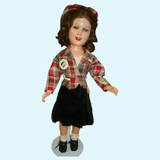 21 In. 1938 Composition Celebrity Doll Deanna Durbin by Ideal, U.S.A., Tagged, Metal Button