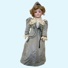 17 In. Simon Halbig 1159 Lady Doll, Lady Body, Molded Bust, Slim Arms and Legs, ca:  1910