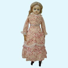 24 In. Reinforced Poured Wax Lady with Lovely Antique 2-Pc Bustle Dress; ca:  1860-1890