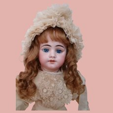 24 In. Simon Halbig Mold #1009 DEP, Bisque Swivel Head / Shoulder Plate on Kid Body, French Cut Head