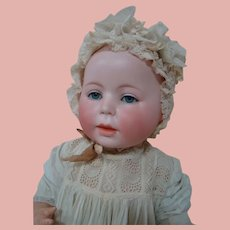 """21 In. """" Lori """" Baby, German Character Bisque Head Baby by Swaine & Co., Open/Closed Mouth Version, ca: 1910"""